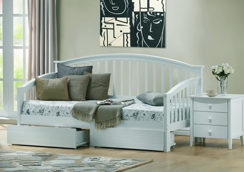 Ikea Aspelund King Size Bed ~ Polo White Wooden Day Bed with Guest Bed with Matching White Under