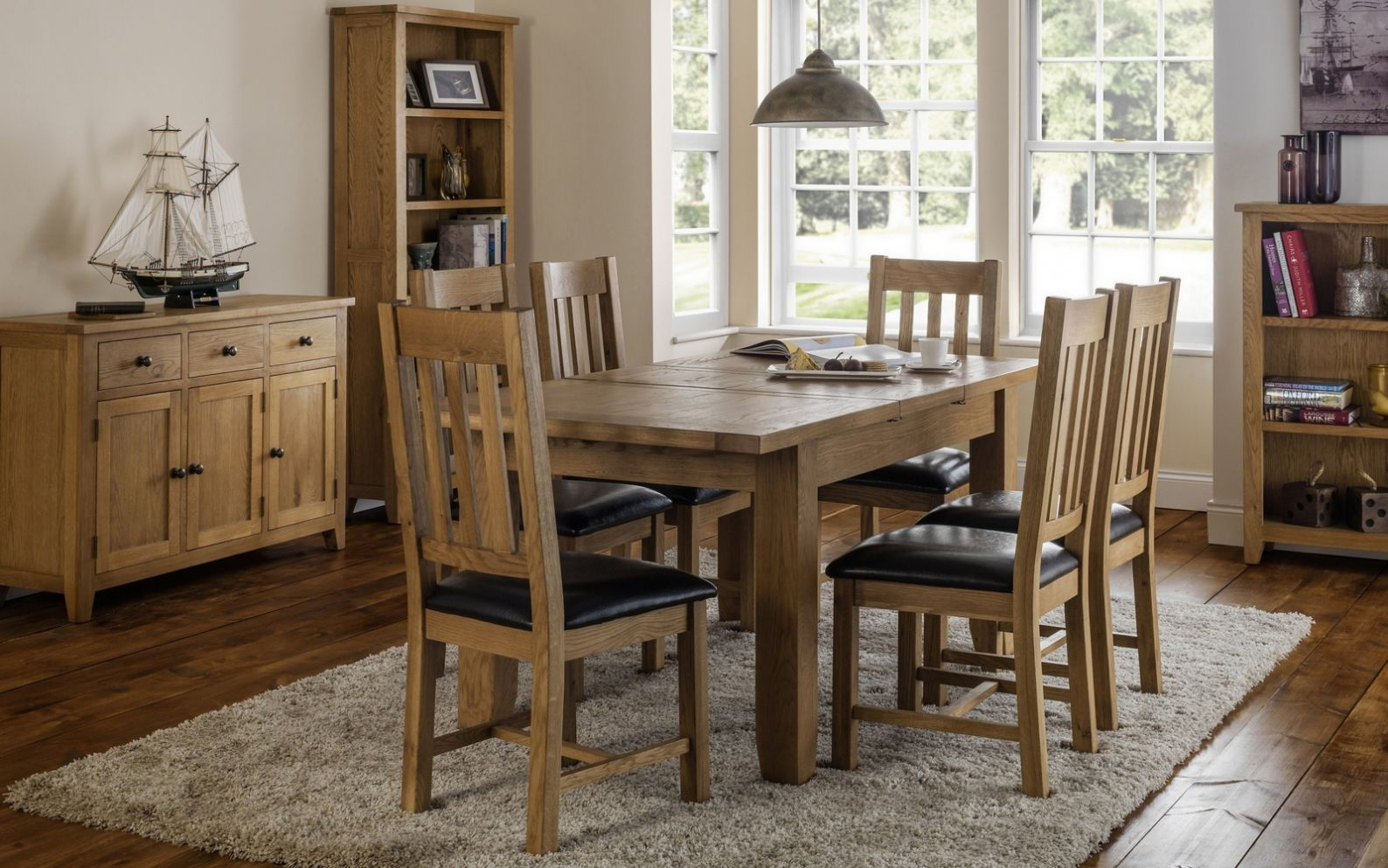 Julian Bowen Astoria Extending Oak Dining Table and Chairs from £689