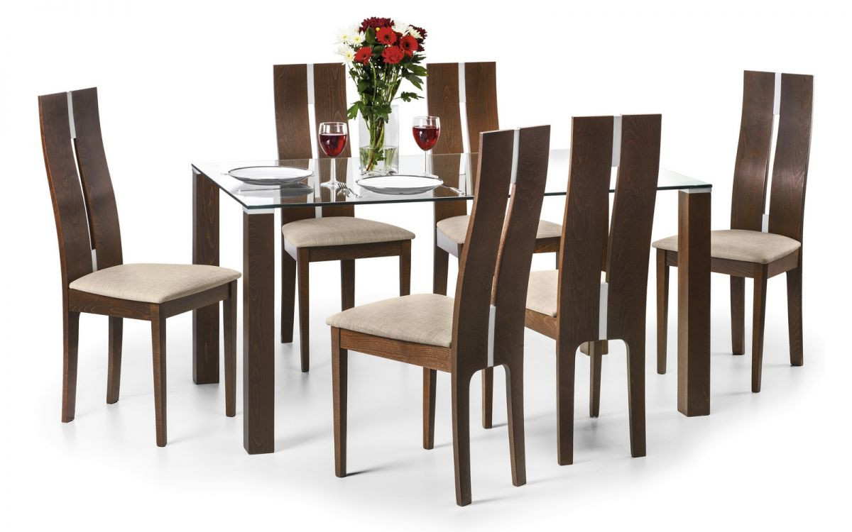 Julian Bowen Cayman Glass And Walnut Dining Table Set And Chairs