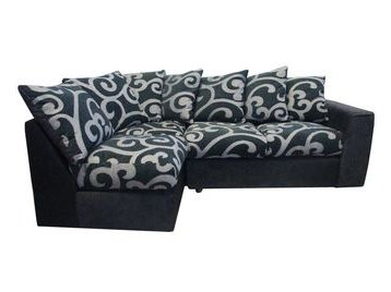 Samantha black and grey left hand corner sofa beds direct for Black and grey sofa