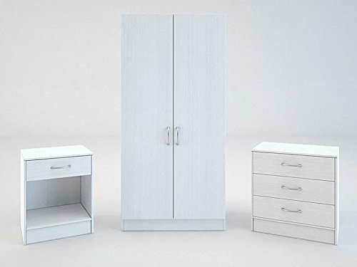 GFW Panama Wardrobe Chest and Bedside in White £139