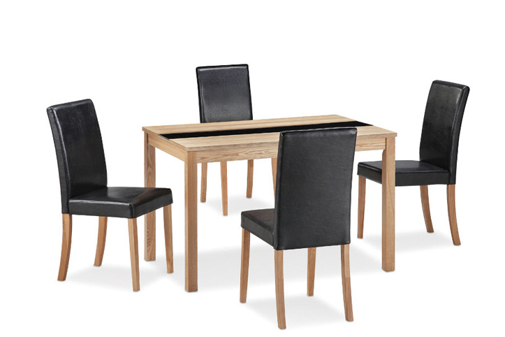 Ashleigh - Real Ash Veneer With an Oak Finish Dining Table With 4 Black Faux Leather Chairs