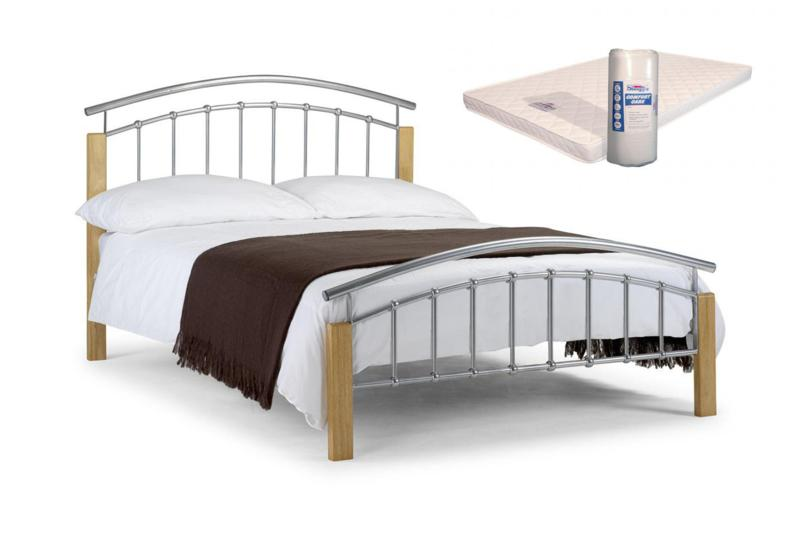 Tetras 4ft6 double metal frame and mattress deal free 24 for Bed frame and mattress deals