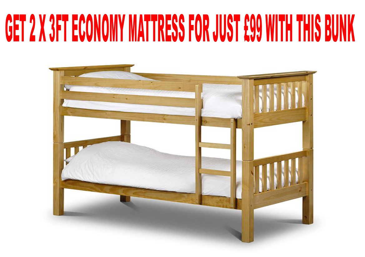 Julian Bowen 3ft Single Barcelona Pine Wooden Bunk Bed £279