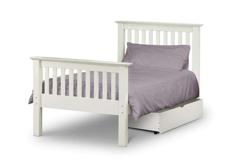 Julian Bowen Barcelona Stone White High Foot End Wooden Bed Frame from £169