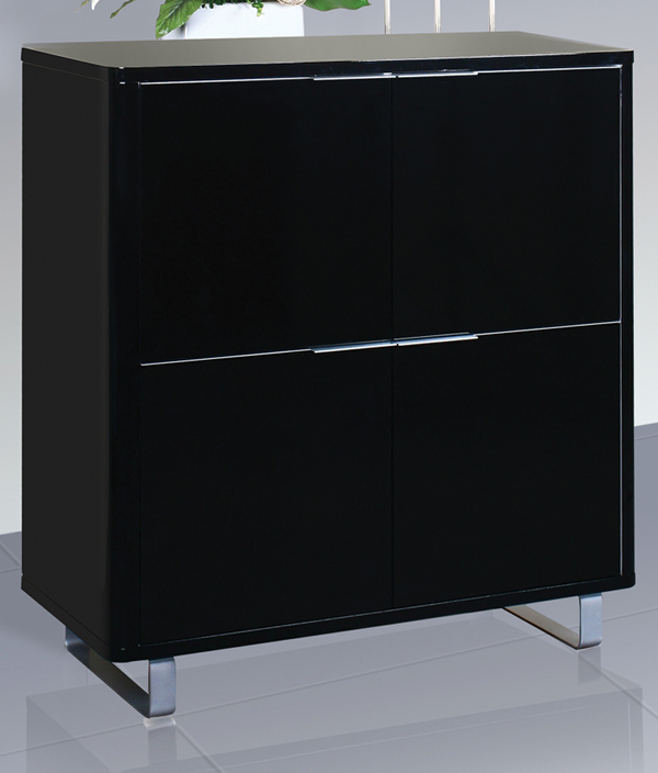 Accent Black High Gloss 4 Drawer Storage Unit