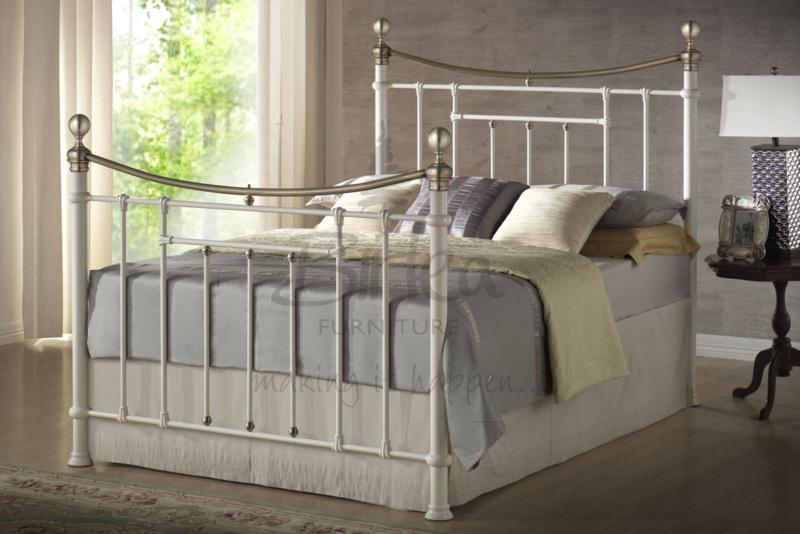 BIRLEA Bronte Cream Double Metal Bed Frame £219