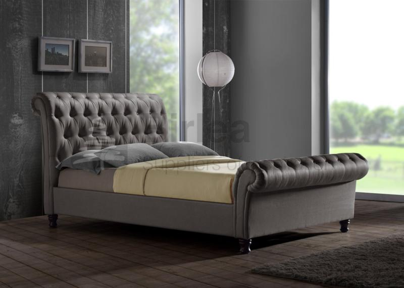 Birlea Castello Grey Upholstered Fabric Bed Frame In