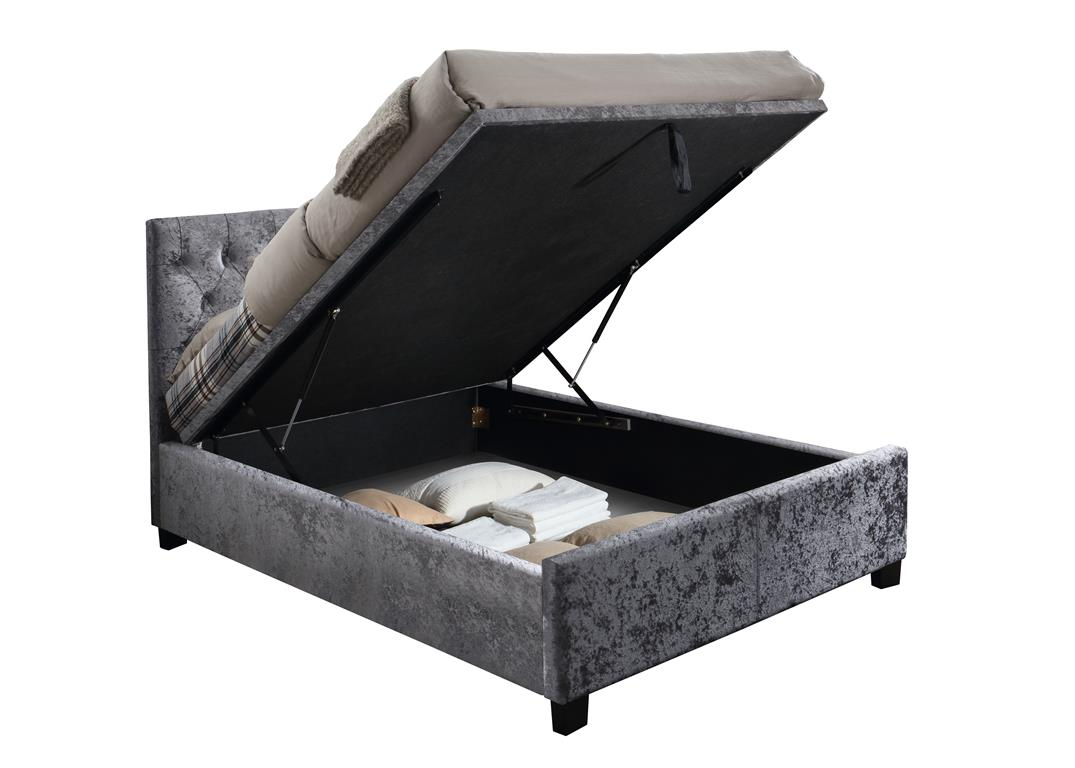 COLOGNE FABRIC OTTOMAN BED IN STEEL CRUSHED VELVET FROM £499
