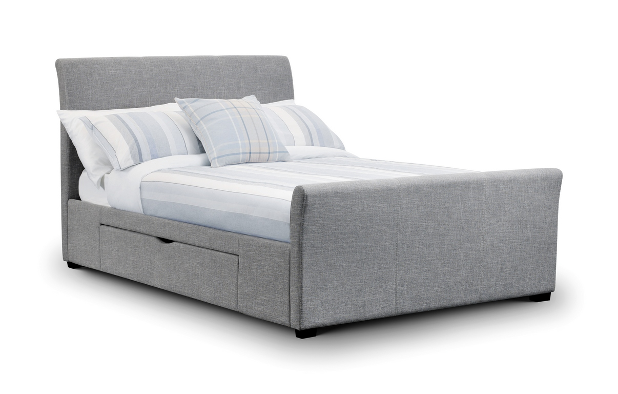 Julian bowen capri 4ft6 double grey fabric bed with 2 drawers beds direct warehouse Bed with mattress