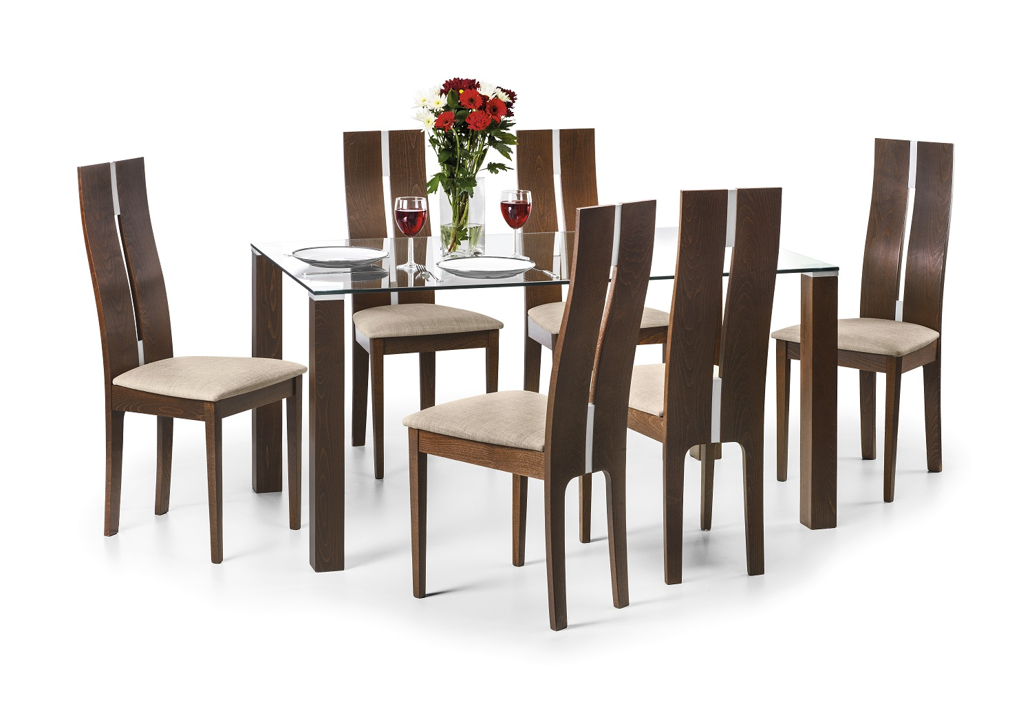 JULIAN BOWEN Cayman Glass And Walnut Dining Table Set Chairs With 4 Or 6
