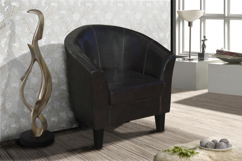 Birlea Brown Faux Leather Chester Tub Chair