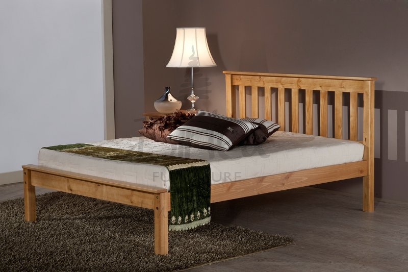 BIRLEA Denver 4ft6 double Pine Wooden Frame Bed £189