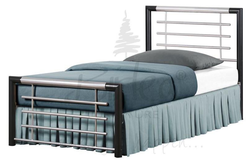 BIRLEA Faro Silver and Black Metal Bed Frame £129