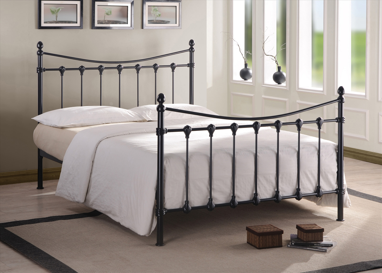 TIME LIVING Florida Metal Bed Frame in Black or Ivory from £119