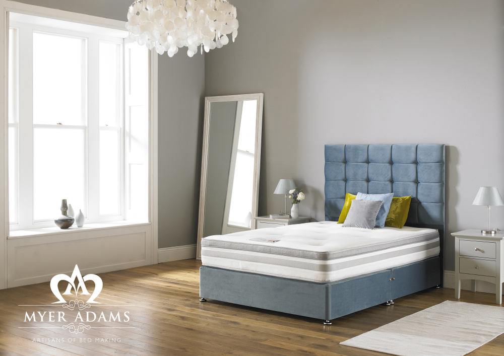 Myer Adams Highlander 4ft6 Double or 5ft King Size Ortho Divan Set with Floor Standing Headboard from only £299