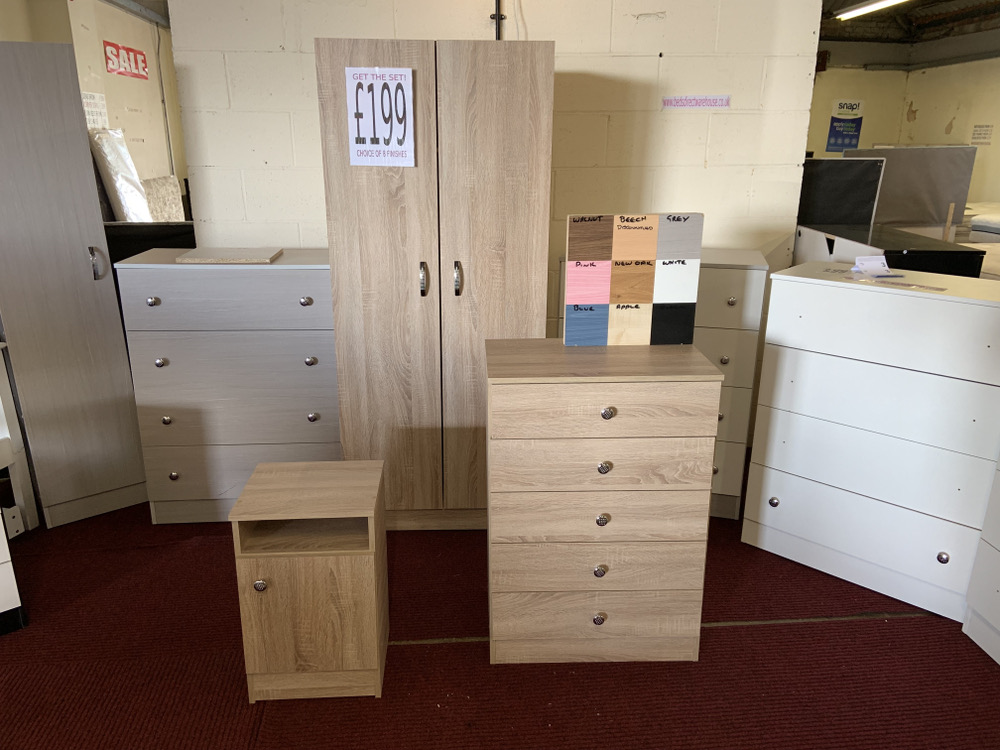 Ready Assembled Wardrobe, 5 drawer and Bedside £199