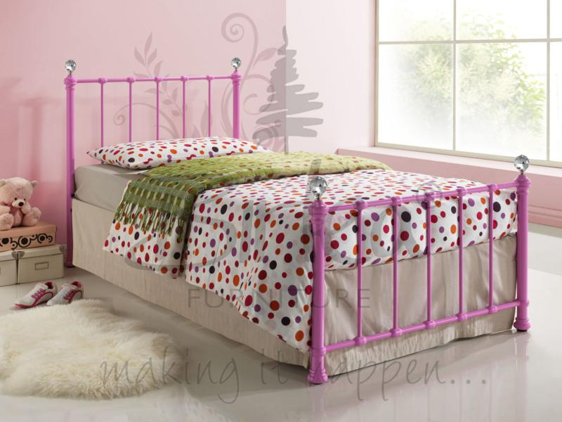 BIRLEA Jessica 3ft Single Pink Metal Bed and Mattress deal from £104