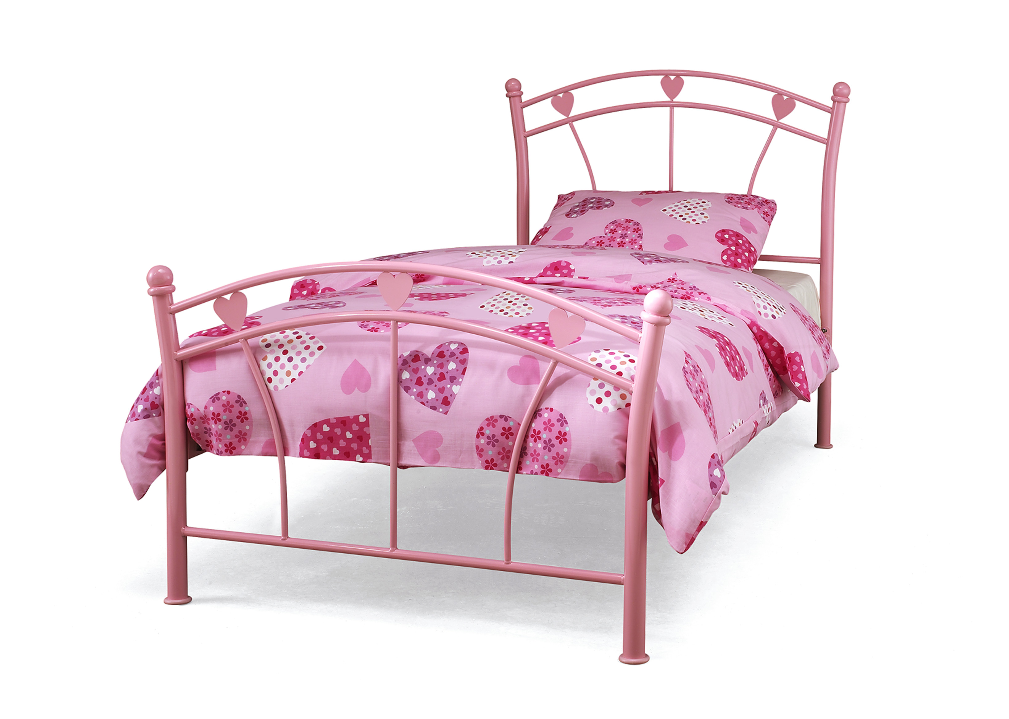 Jemima Pink Heart Frame and Mattress Option from £79