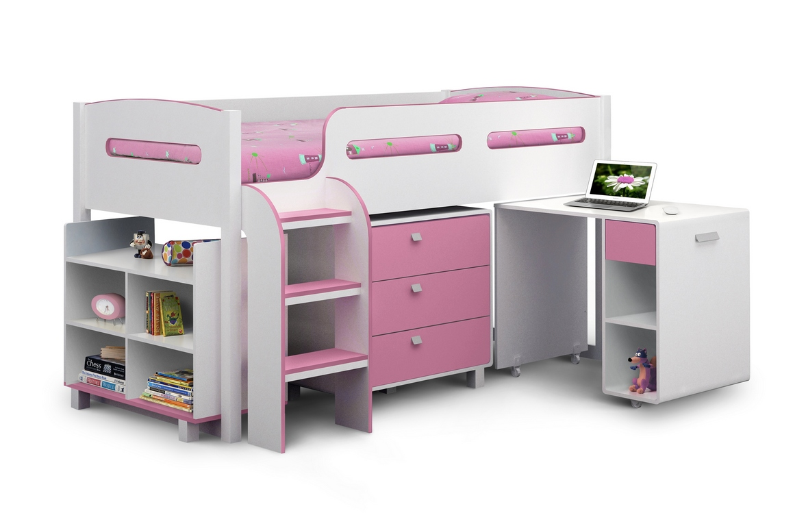 Julian Bowen Kimbo Cabin Bed in Pink with Premier Mattress £359