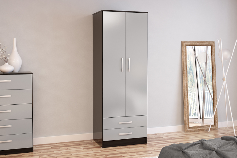 Birlea Lynx 2 Door Combi Robe in Black and Grey High Gloss