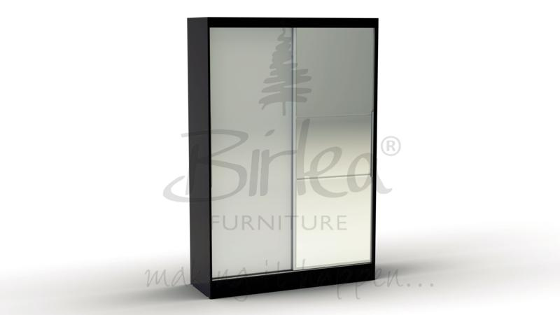 BIRLEA LYNX 2 DOOR SLIDING ROBE WITH MIRROR BLACK HIGH GLOSS & WHITE BY BIRLEA £299