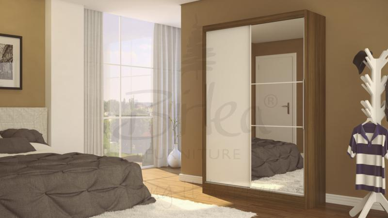 BIRLEA LYNX 2 DOOR SLIDING ROBE WITH MIRROR IN WALNUT & WHITE HIGH GLOSS £299