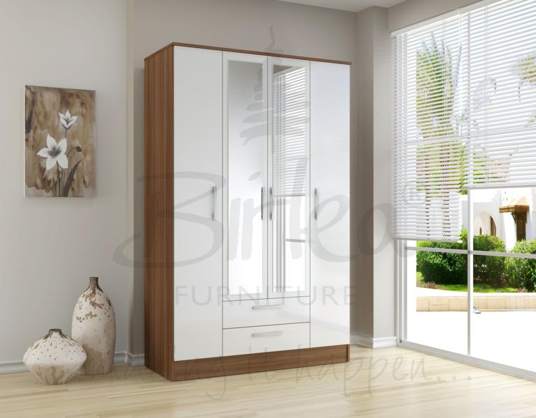 BIRLEA LYNX 4 DOOR 2 DRW ROBE WITH MIRROR IN WALNUT & WHITE HIGH GLOSS £289