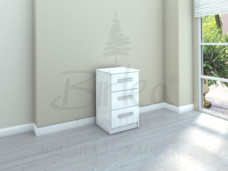 BIRLEA LYNX 3 DRAWER BEDSIDE iIN WHITE HIGH GLOSS £68