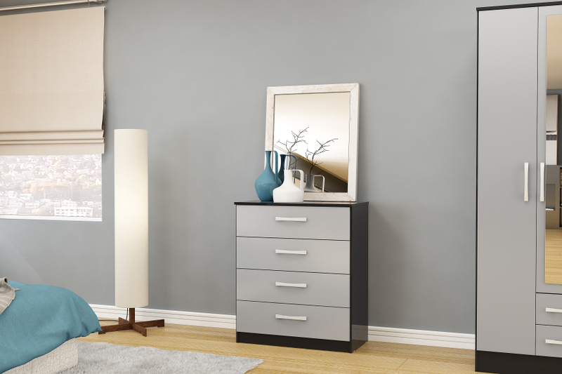 Birlea Lynx 4 Drawer Chest in Black and Grey High Gloss £119
