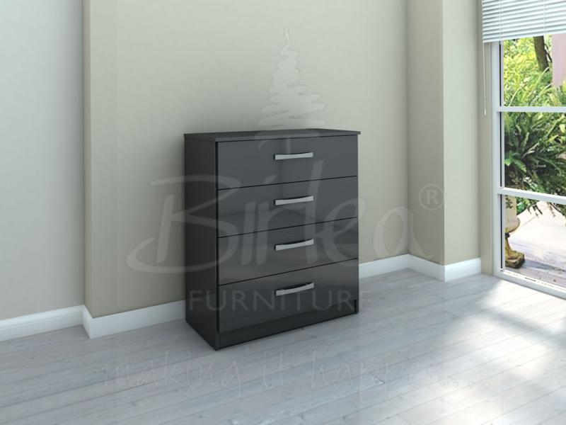 LYNX 4 DRAWER CHEST IN HIGH  BLACK GLOSS BY BIRLEA