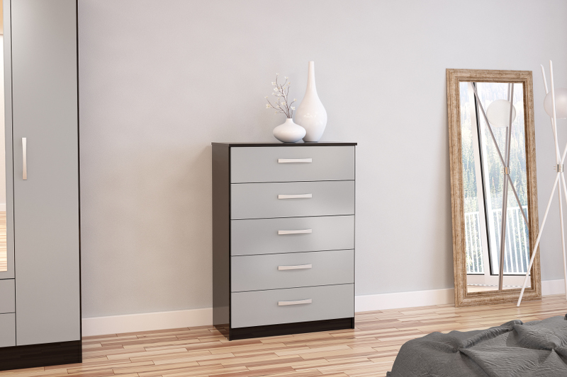 Birlea Lynx 5 Drawer Chest in Black and Grey High Gloss £139
