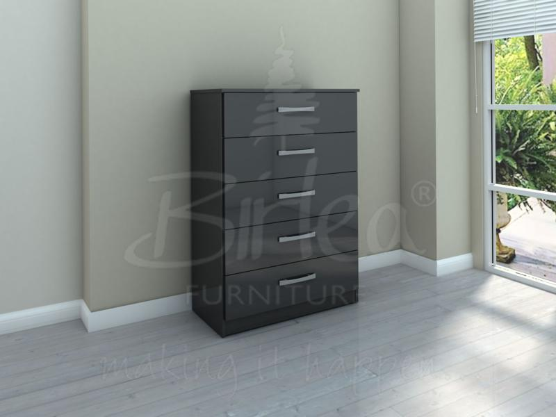 LYNX 5 DRAWER CHEST IN BLACK HIGH GLOSS BY BIRLEA