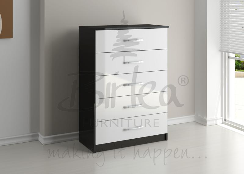 BIRLEA LYNX 5 DRAWER CHEST BLACK HIGH GLOSS & WHITE BY BIRLEA £139