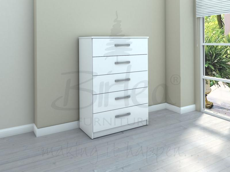 BIRLEA LYNX 5 DRAWER CHEST IN WHITE HIGH GLOSS