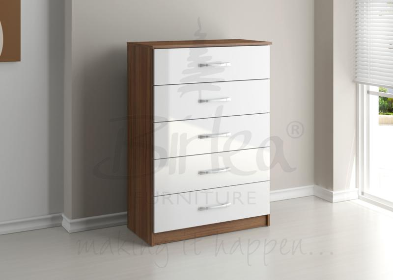 BIRLEA LYNX 5 DRAWER CHEST WALNUT & WHITE HIGH GLOSS