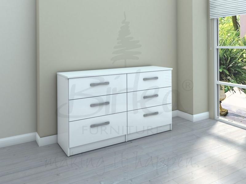 BIRLEA LYNX 6 DRAWER CHEST IN WHITE HIGH GLOSS