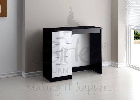 BIRLEA LYNX 3 DRAWER DRESSING TABLE BLACK & WHITE £108