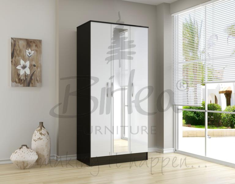 BIRLEA Lynx Black and white High Gloss 3 door Wardrobe £199