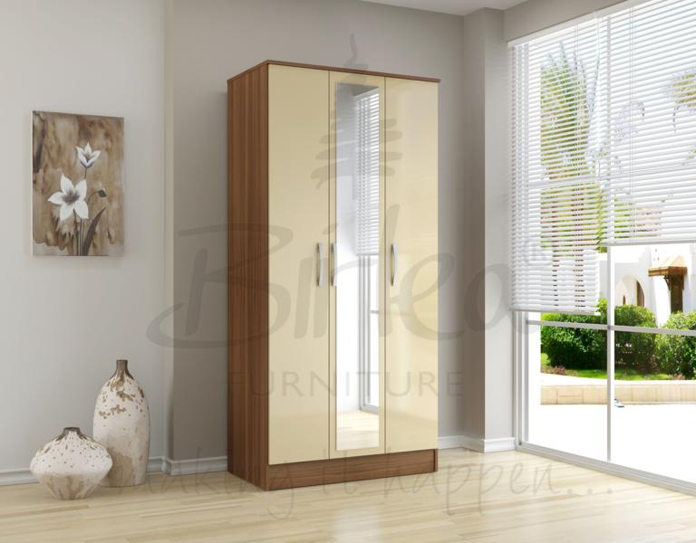 BIRLEA LYNX 3 DOOR MIRROR WARDROBE IN WALNUT & CREAM HIGH GLOSS £219