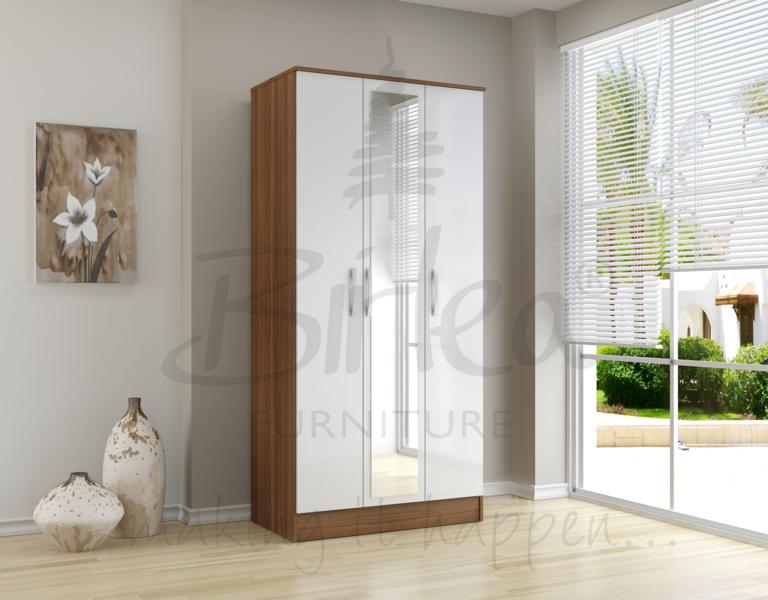 BIRLEA LYNX 3 DOOR MIRROR WARDROBE WALNUT & WHITE HIGH GLOSS £219