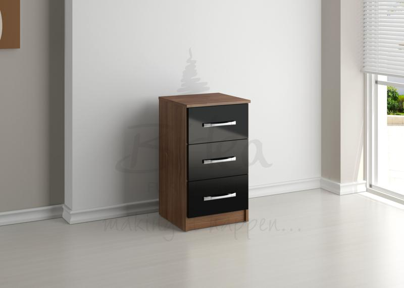 BIRLEA Lynx Black high gloss and walnut 3 Drawer Bedside
