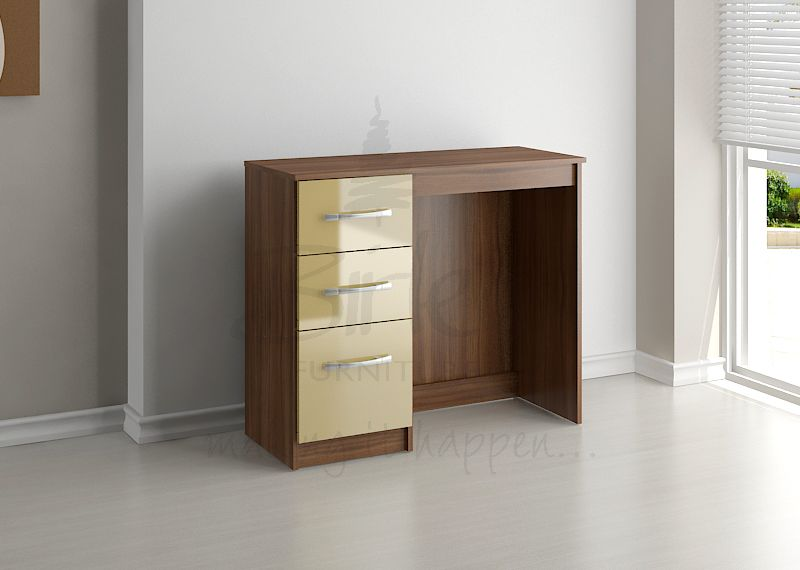 BIRLEA LYNX 3 DRW DRESSING TABLE WALNUT & CREAM HIGH GLOSS £109
