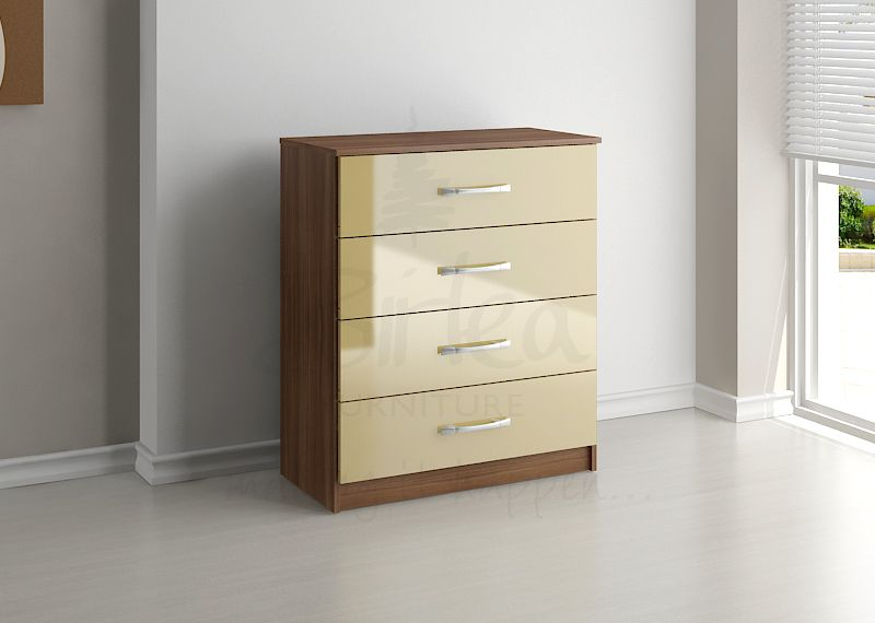 BIRLEA LYNX 4 DRAWER CHEST WALNUT & CREAM HIGH GLOSS £119