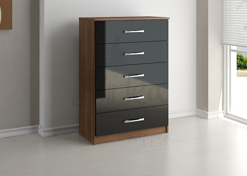 BIRLEA Lynx Black high gloss and walnut 5 Drawer Chest