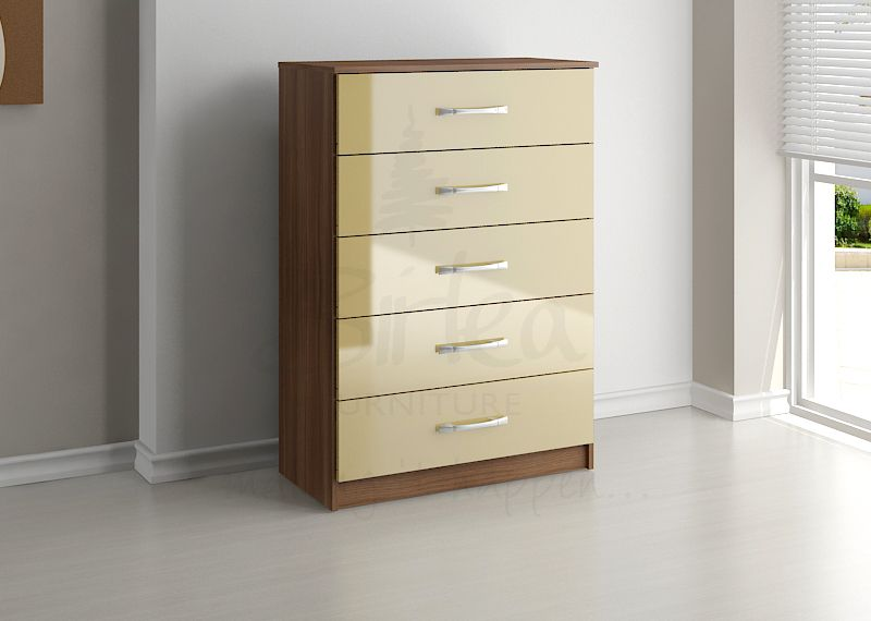 BIRLEA LYNX 5 DRAWER CHEST WALNUT & CREAM HIGH GLOSS