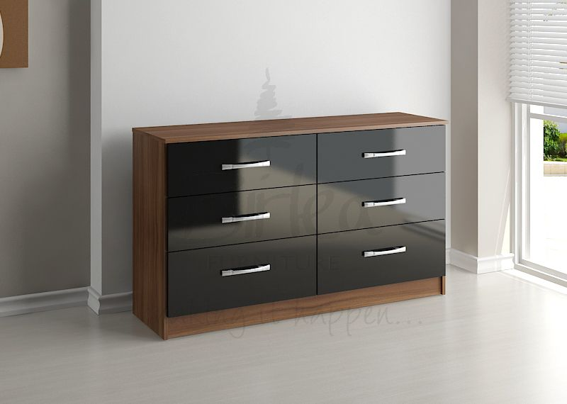BIRLEA Lynx Black high gloss and walnut 6 Drawer chest