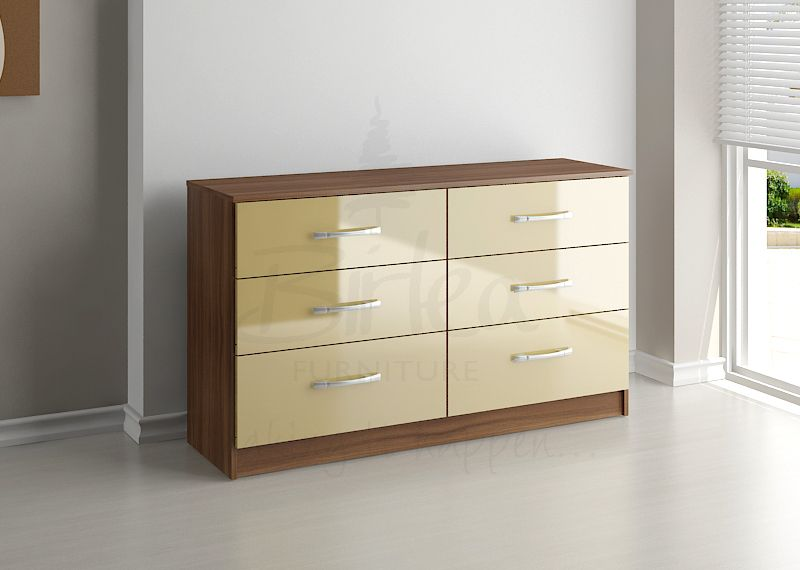 BIRLEA LYNX 6 DRAWER CHEST WALNUT & CREAM HIGH GLOSS