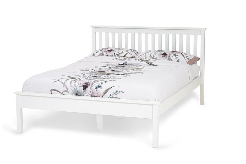 Serene Heather Wooden Bed Frame in Opal White