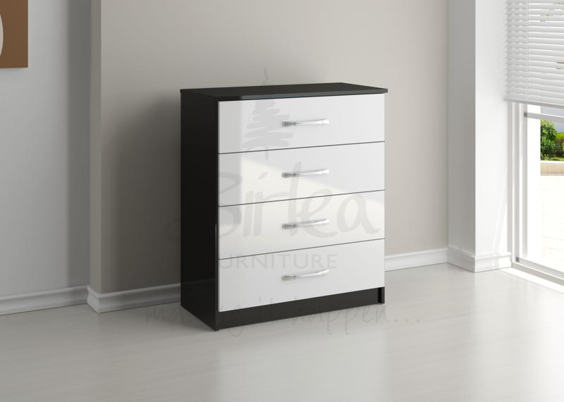 BIRLEA Lynx Black and White High Gloss 4 Drawer Chest
